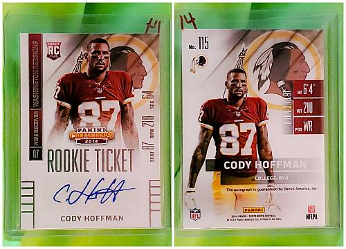 NFL Cody Hoffman Washington Redskins Autographed 2014 Panini Rookie Ticket Mint