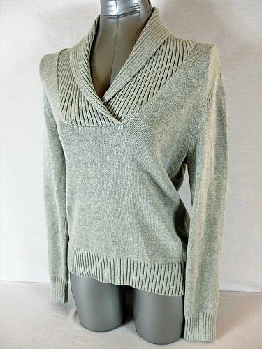 JEANNE PIERRE womens Medium L/S gray 100% cotton V NECK sweater (A5)P