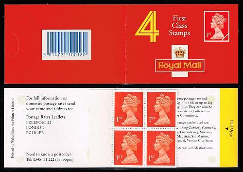 Great Britain #BK996 Machin Booklet Pane of 4; MNH (6.50) (4Stars) |GBRBK0996-01XVA