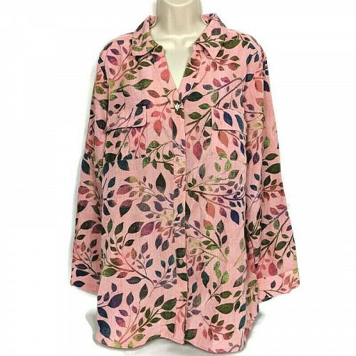 Denim & Co. Womens Printed Woven Button Front Roll Tab Sleeve Tunic XL Pink