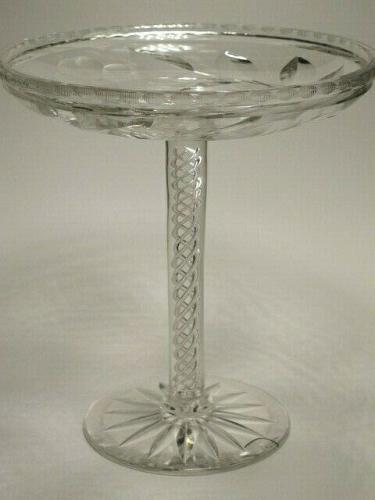 American Brilliant Period Cut Glass signed Signet compote Antique abp