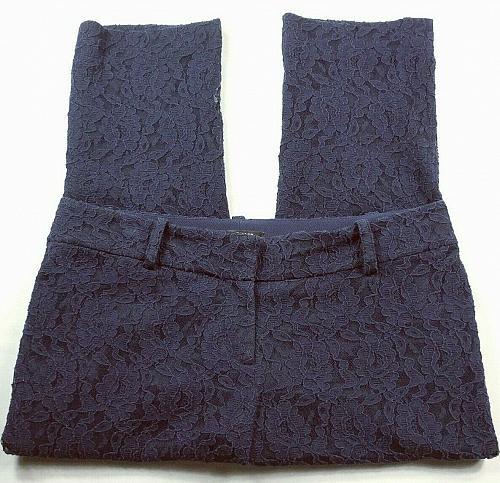 Ann Taylor Women's Petites Casual Pants Size 8P Floral Blue Lace Stretch