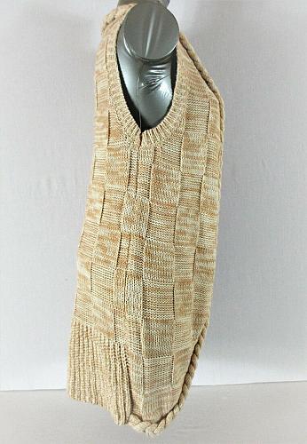 NICK & ME womens Small beige BRAIDED edged Tunic cardigan sweater vest (C5)