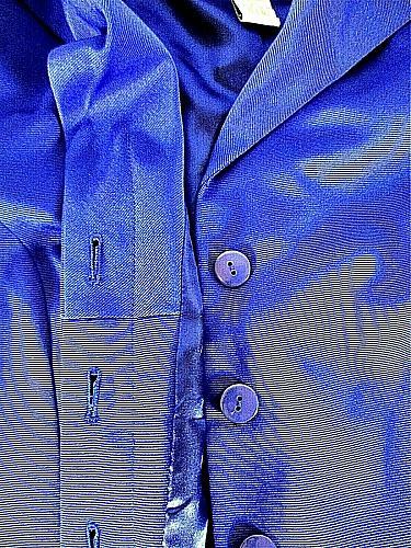 VICTOR COSTA womens Medium L/S blue HIDDEN BUTTONS fully lined jacket (B9)