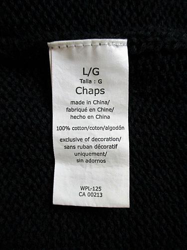 CHAPS mens Large L/S BLACK 100% COTTON SWEATER (W)P