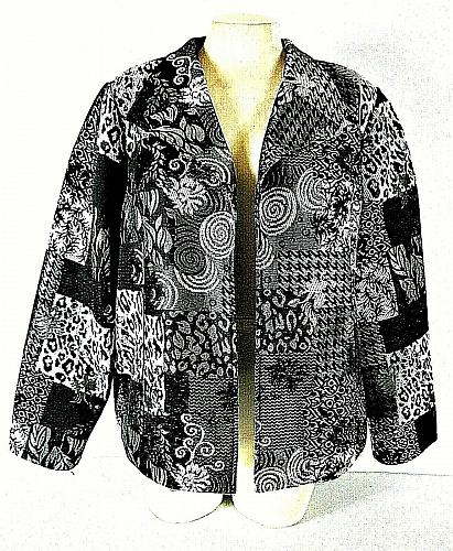 CHRISTOPHER & BANKS womens Large L/S black gray TAPESTRY open front jacket (B9)