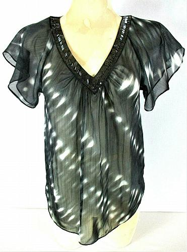 Express womens Small S/S black white SEQUINED & BEADED neckline sheer top N)PMTD