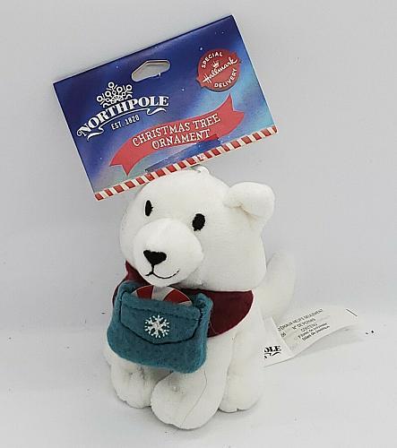 Hallmark Northpole Christmas Tree Ornament Plush Husky Dog 4 Inch White NEW