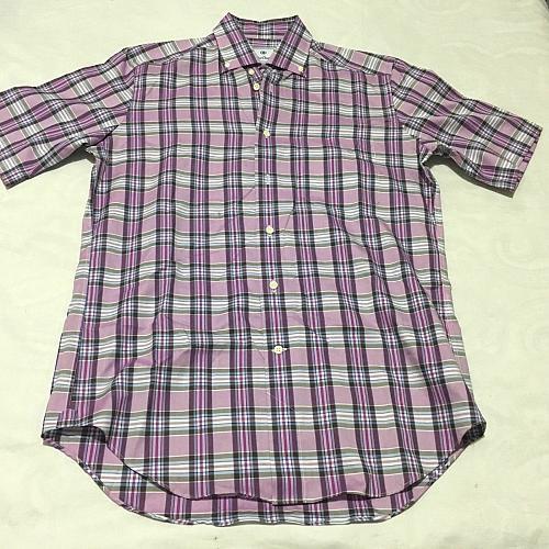 DAVID DONAHUE Sz M Regular Fit Short Sleeve Shirt Purple Plaid - NWOT