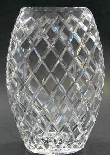 Hand cut crystal oval vase award Space for engraving glass gift