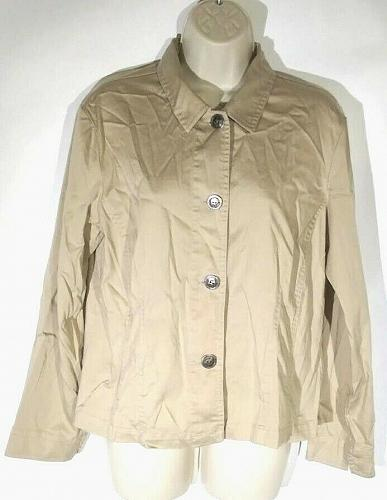 Chicos Women's Blouse Top Size 1 Medium Tan Button Front Shirt Long Sleeve