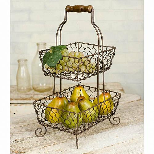 New Farmhouse Country Two Tiered Grayson Caddy Chicken Wire Fruit Basket Storage