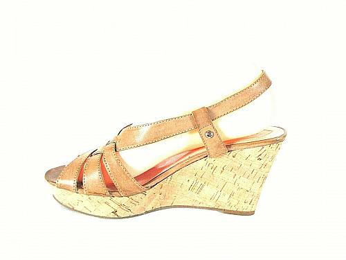 Guess Beige Strappy Slingback Wedge Sandals Heels Shoes Women's 8 M (SW17)