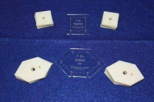"""Mylar 1"""" Square & 90 Degree Hexagon 102 Piece Set - Quilting / Sewing Templates"""