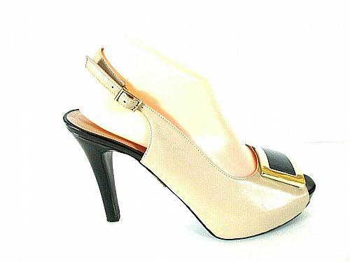 Nine West Beige Leather Slingback Platform Pumps Heels Shoes Women's 8.5 M (SW16