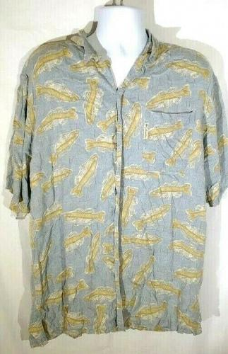 Columbia Men's Shirt Large Fish Graphic Button Down Short Sleeve
