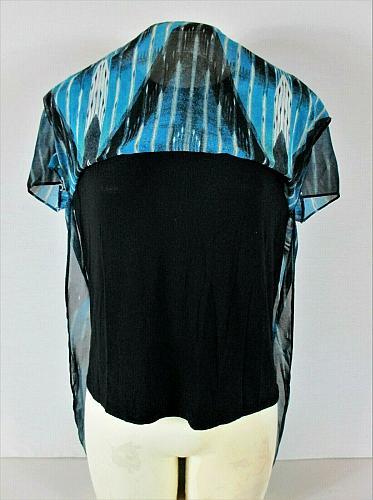 RACHEL ROY womens Medium S/S blue black SHEER OVERLAY stretch liner top B8)