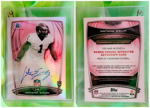 NFL Antone Exum Autographed 2014 Bowman Chrome Rookie Refractor #6 Mint