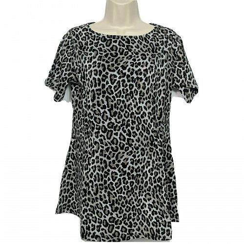 Denim & Co. Regular Fit & Flare Knit Tunic Size XS Leopard Print Boat Neck