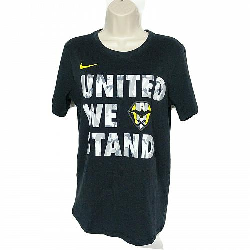 Nike Womens The Nike Tee Dri Fit Size Small United We Stand Black Yellow Gray