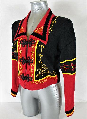 PRONTO womens Small L/S RED BLACK GOLD EMBELLISHED CARDIGAN SWEATER (Z)P