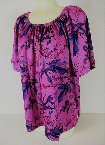 METROPOLITAN womens XL S/S pink blue FLORAL PRINT stretch top (Q)