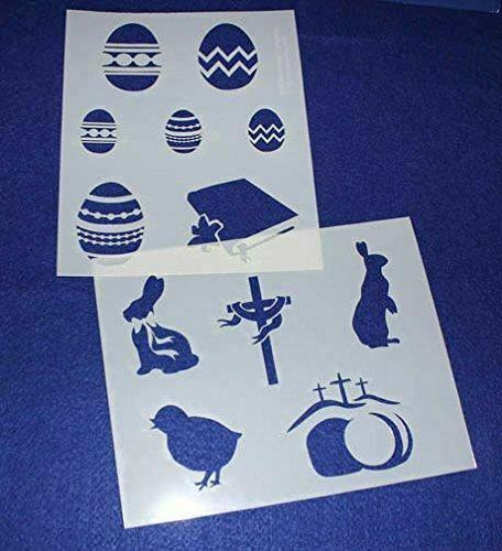 """Mylar 2 Pieces of 14 Mil 8"""" X 10"""" Easter Stencils- Painting /Crafts/ Templates"""