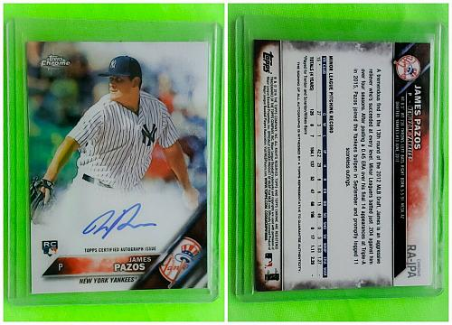 MLB JAMES PAZOS NEW YORK YANKEES AUTOGRAPHED 2016 TOPPS CHROME RC MINT