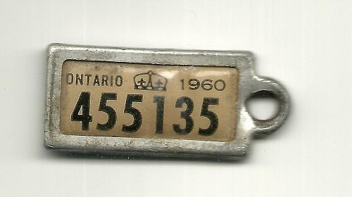 War Amps Key Tag Fob Ontario 1960 License Plate 455135