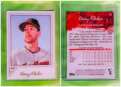 MLB COREY KLUBER CLEVELAND INDIANS 2017 TOPPS GALLERY BASEBALL #73 MINT