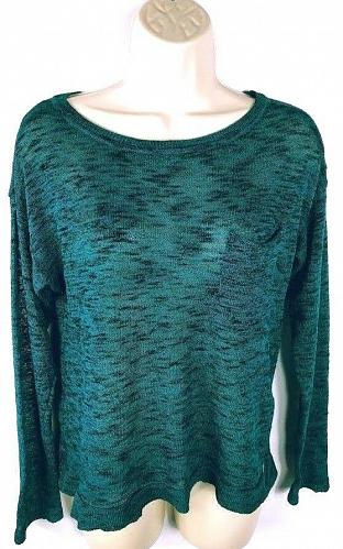 H&M Divided Women's Crew Neck Semi-Sheer Sweater Size XS Solid Teal