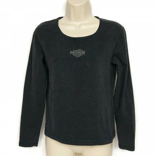 Harley Davidson Womens T-Shirt Harley Logo Black Medium Long Sleeve