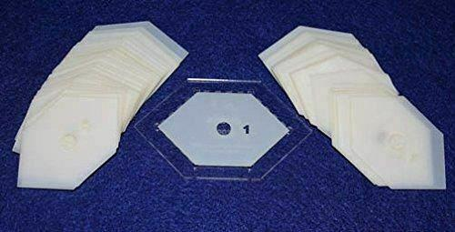 "Mylar 1"" Flattened 90° Hexagon 51 Piece Set - Quilting / Sewing Templates"
