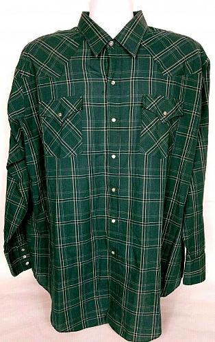 Ely Cattlemen Men's Western Pearl Snap Shirt XXL Long Sleeve Green Plaid