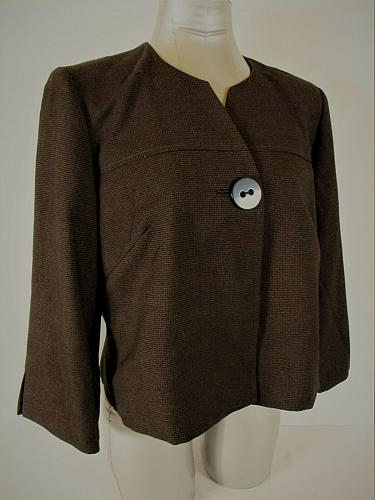 DRESSBARN womens Sz 10 L/S brown 1 button FULLY LINED jacket (A3)