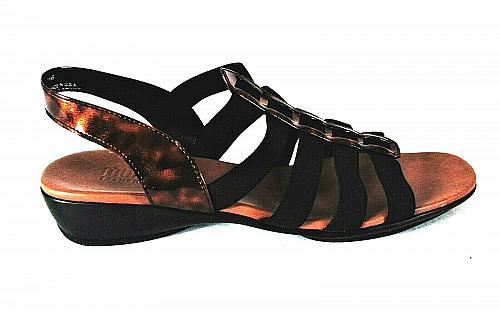 Munro Black Bronze Natural Stretch Slingback Sandals Shoes Women's 10 N (SW1)