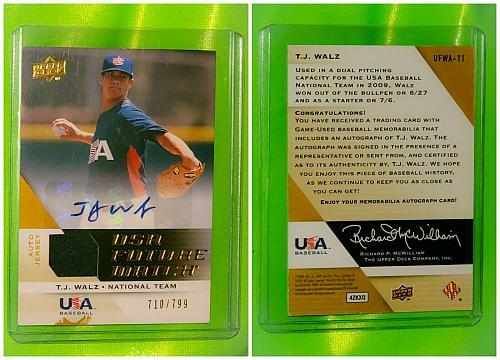 MLB TJ WALLS USA BASEBALL NATIONAL TEAM AUTOGRAPHED 2010 UPPER DECK JERSEY /799