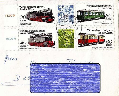 GERMANY DDR [1984] MiNr 2864-67 Zdr ( Brief ) [02] Eisenbahn
