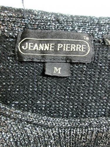 JEANNE PIERRE womens Medium L/S black SILVER METALLIC sweater (M)P