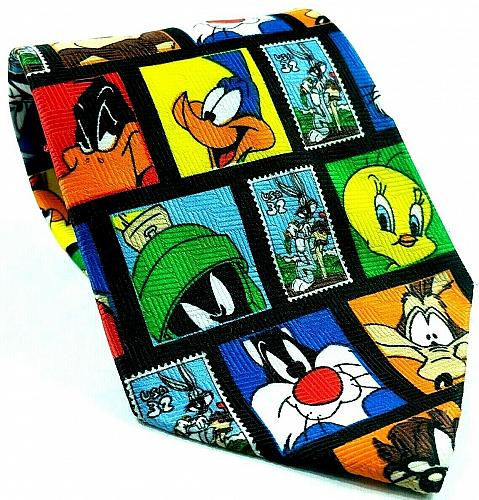 Looney Tunes Stamp Collection Bugs Daffy Marvin Tweety Taz Novelty Necktie