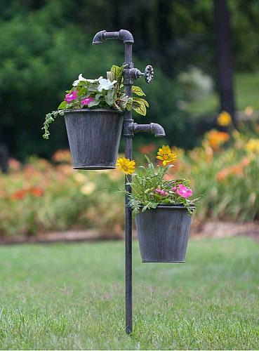 Metal Flower Garden Planter Stake Plants Herbs Outdoor Rustic Lawn Yard Decor