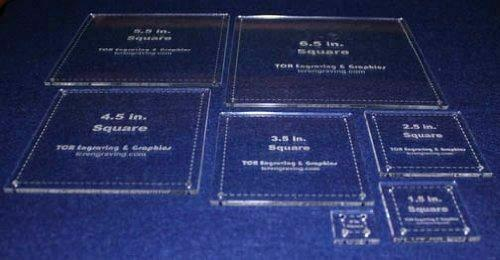 """7 Piece Set Square Half Size Templates. .5"""" to 6.5"""" - Clear 1/8"""""""