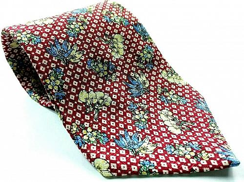 Floral White Blue Flower Red White Squares Novelty 100% Silk Tie