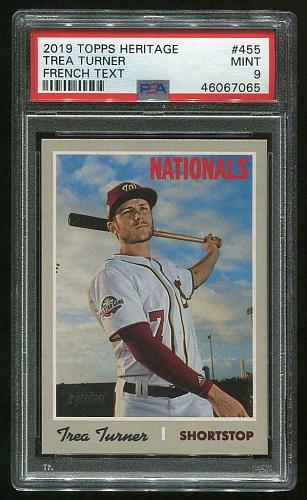 2019 TOPPS HERITAGE FRENCH TEXT TREA TURNER #455 PSA 9 MINT (46067065)