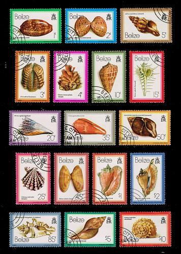 Belize #471-487 Sea Shells Set of 17; CTO (5Stars) |BEZ0487set-01XRP