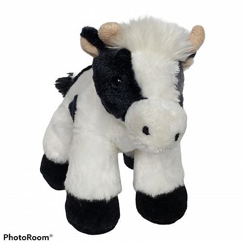 """Aurora Black White Holstein Cow Farm Animal Plush Stuffed Animal 7.5"""""""