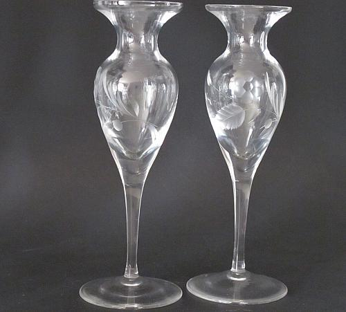 Lenox HAND Cut glass bouquet candle sticks Pair Crystal Made in USA