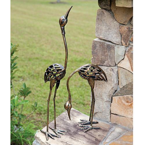 Set 2 Crane Statues Bird Garden Lawn Patio Sculptures Ornaments Art Home Decor