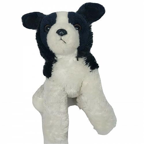 "Aurora Border Collie Puppy Dog Black White Plush Stuffed Animal 2016 12.5"""