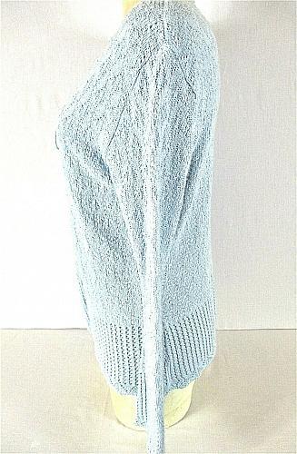 DEFINITELY womens Medium BELL L/S blue CROCHET KNIT tie front sweater (C4)